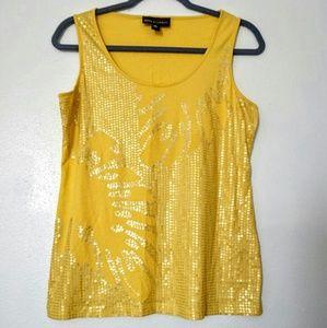 Dana Buchman yellow sequins tank top